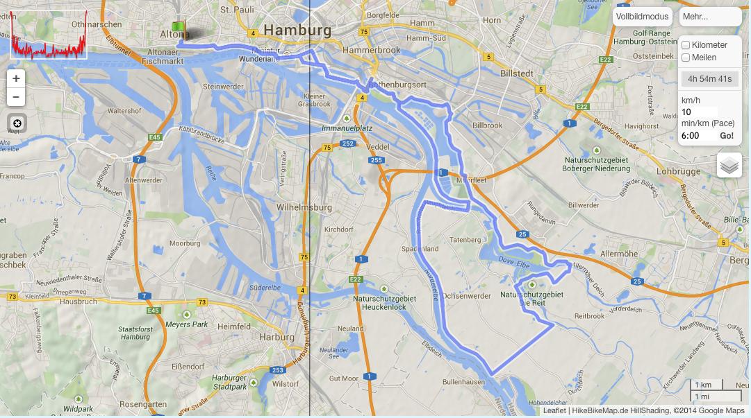 50 km Strecke in die Vier und Marschlande
