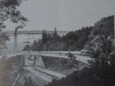 Historischen Aufnahme des Elbbergs vor dem Bau der Hafenbahn.