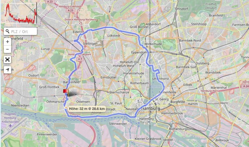 Übersicht das 30K Lauf durch Hamburg zur Vorbereitung auf den Marathon