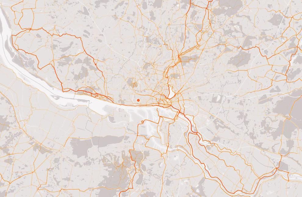 Deutlich zu erkennen die Schleife nach der Köhlbrandbrücke und die Cyclassics-Strecke.