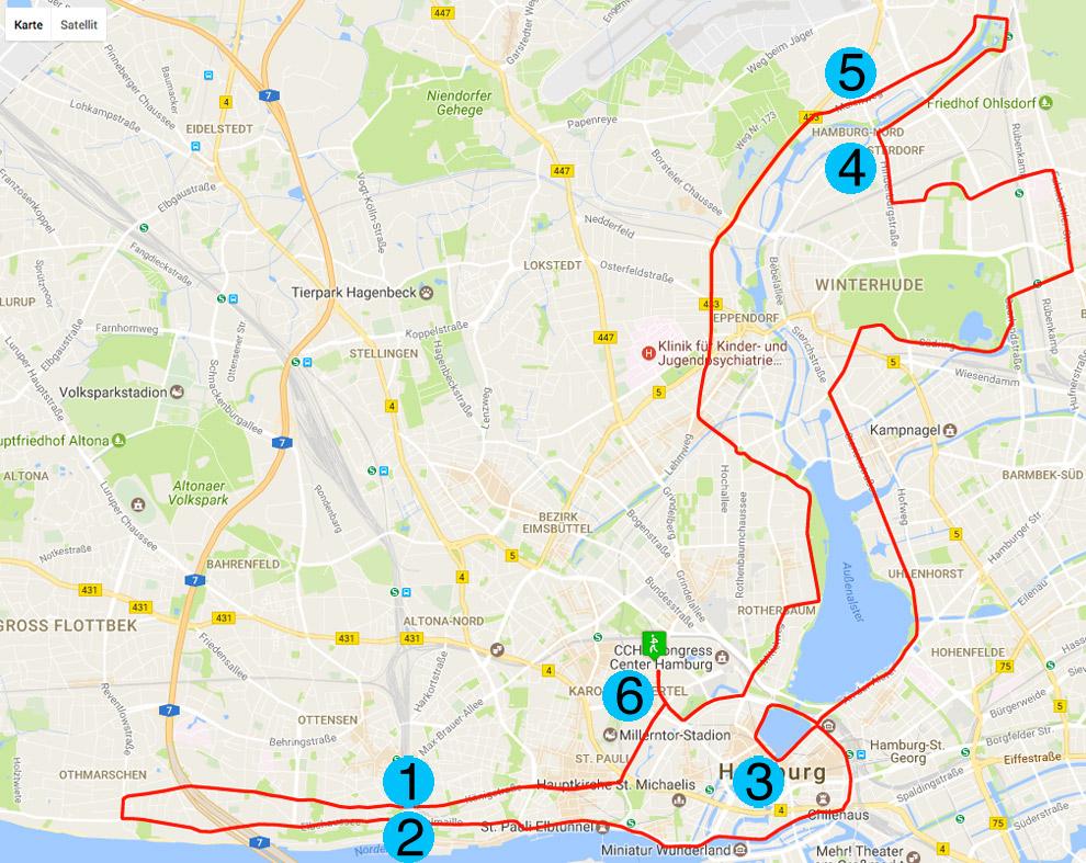 Die Punkte zur Unterstützung an der Strecke Marathon Hamburg in der Übersicht